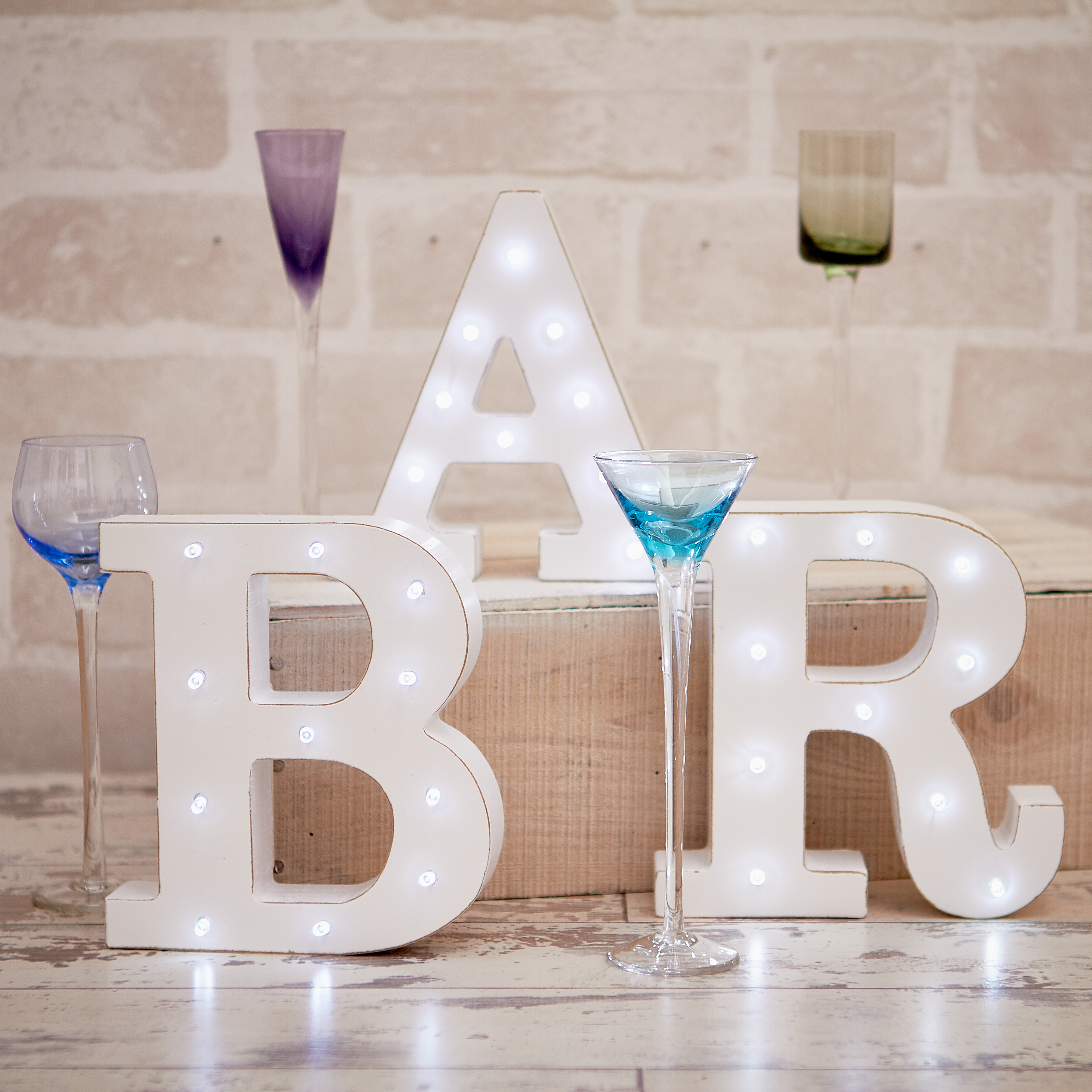 distressed white light up letters